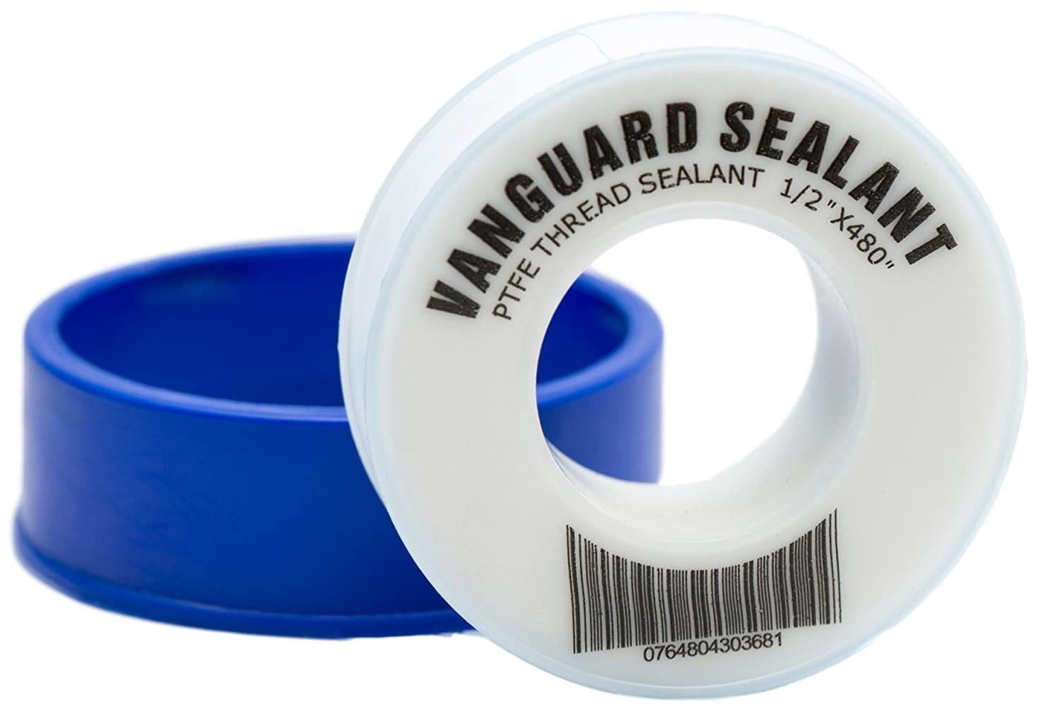 "PTFE Plumbers Water Sealant Thread Tape 460"" Length 1/2"" Width White 1 Pack by Vanguard Sealants Perfect for Shower Heads and Pipe Threads"