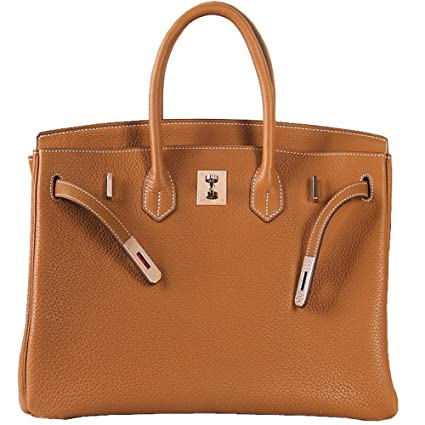 f75ffb41066 Macton European and American Classic Padlock Genuine Leather Top Handle  Handbags Mc-1329 (30CM, Brown): Amazon.co.uk: Shoes & Bags