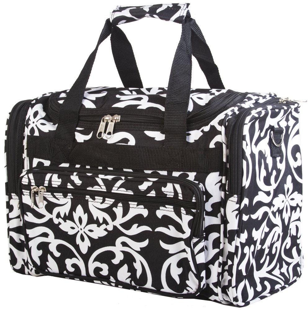 Black Floral Damask Duffle Bag 16-inch