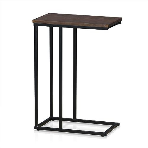 FURINNO Modern Side Table, Dark Walnut