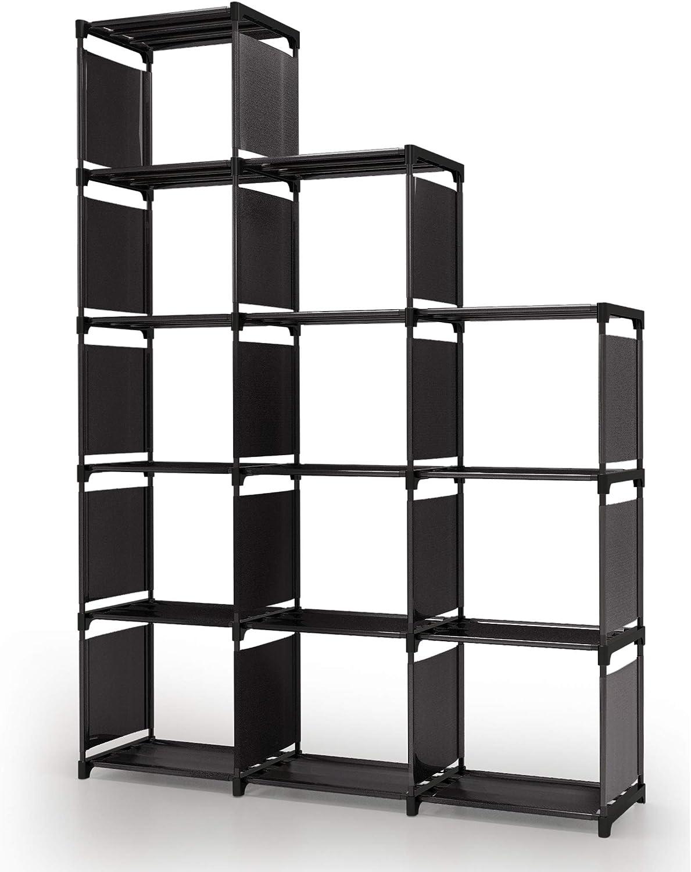 pour Salon Meuble de Rangement /Étag/ère escalier Salle de Bain Chambre 6 casiers S/éparateur Biblioth/èque /à Compartiments Noir