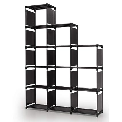 Meerveil Étagère Meuble Armoire de Rangement Ouvert Bibliothèque Escalier  12 Cubes en Metal Tissu Intissé pour Salon Chambre Noir