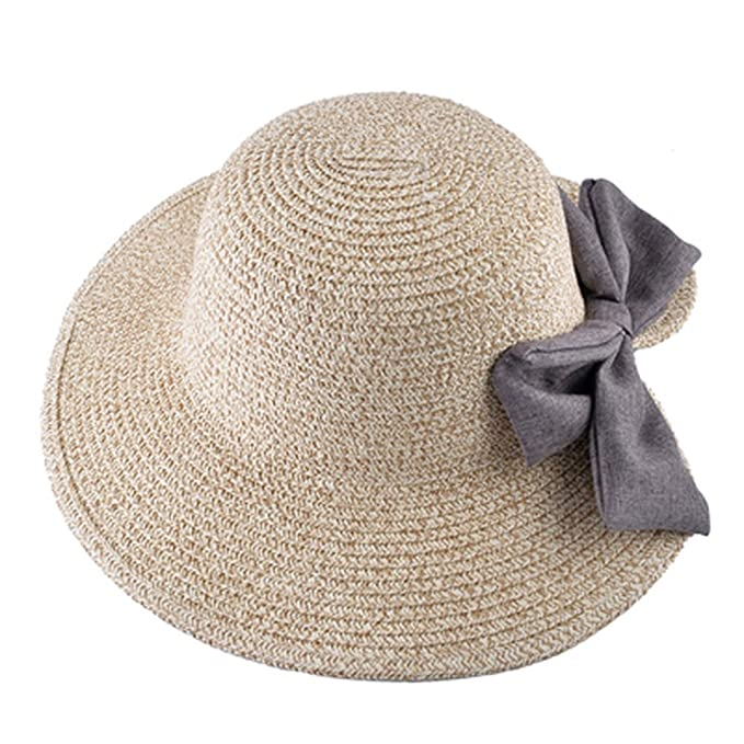 330e3abc493f AOBRITON Natural Straw Hat Women's Summer Bucket Cap Ladies Wide ...