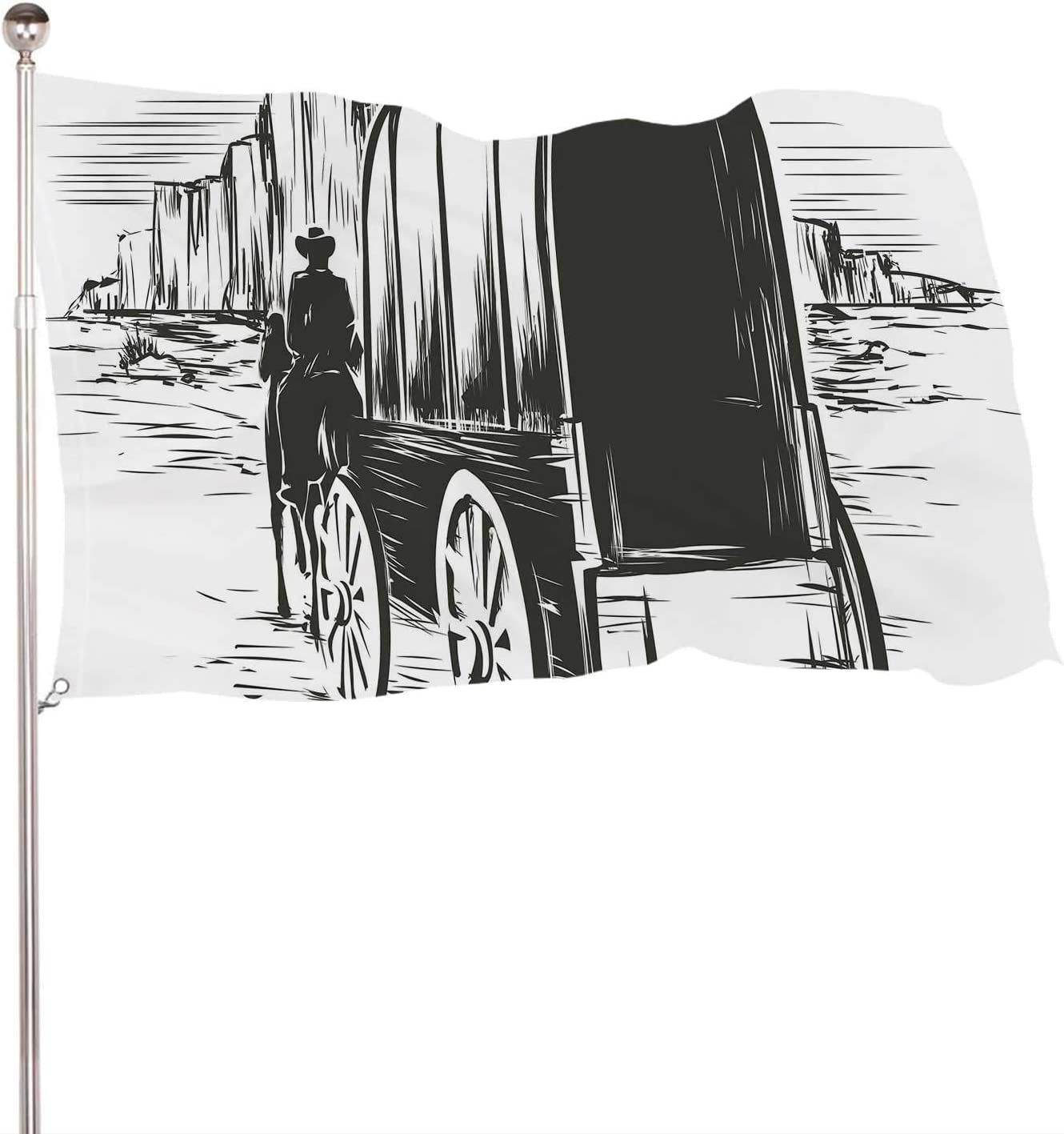 Dxichy Old Wagon in Wild west prairies.Pioneer on Horse Transportation cart,Banner Flags with Grommets for Decor Vivid Color and UV Fade Resistant 3x5 Ft