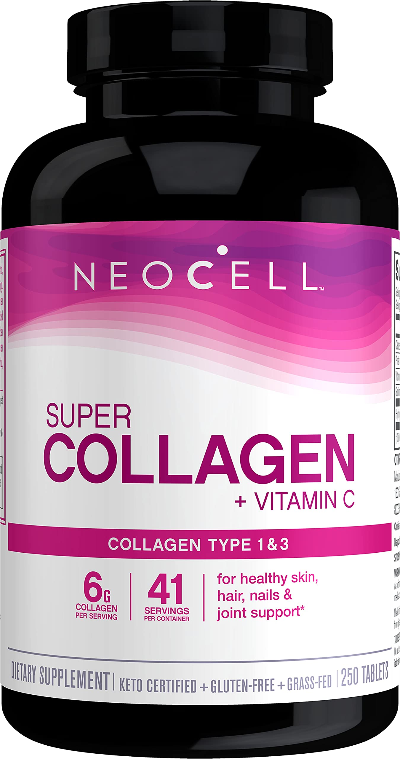NeoCell Super Collagen with Vitamin C, 250 Collagen Pills, #1 Collagen Tablet Brand, Non-GMO, Grass Fed, Gluten Free, Collagen Peptides Types 1 & 3 for Hair, Skin, Nails & Joints (Packaging May Vary)