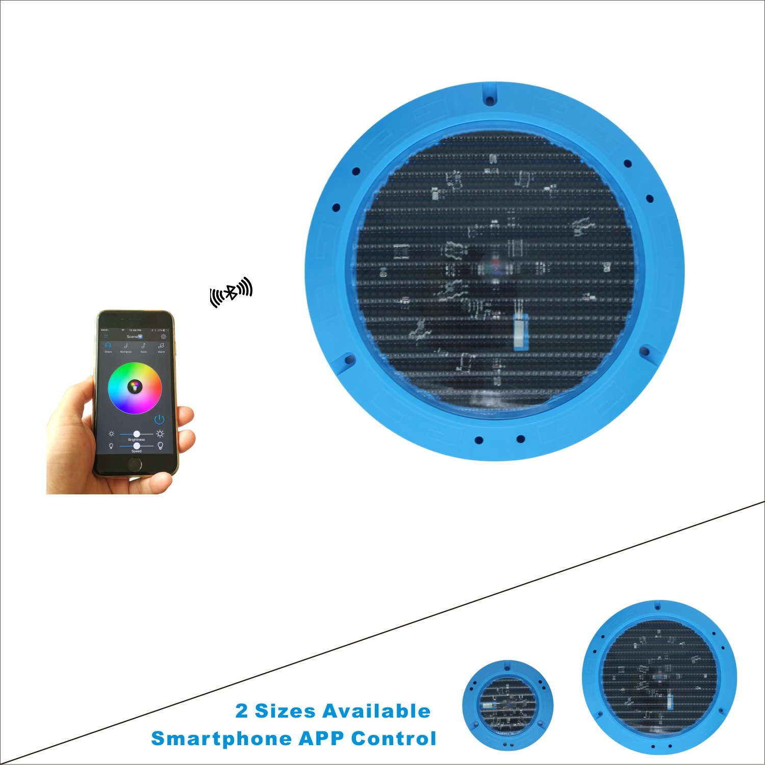 Ipoolight Universal 30 Feet Cord Large LED Color Changeable Underwater Pool/Spa Light Smartphone Bluetooth Control Outdoor Control Box by Ipoolight
