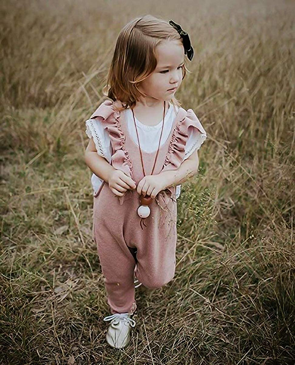 Unmega Baby Girl Sleeveless Romper Ruffle Jumpsuit Long Pants Overalls