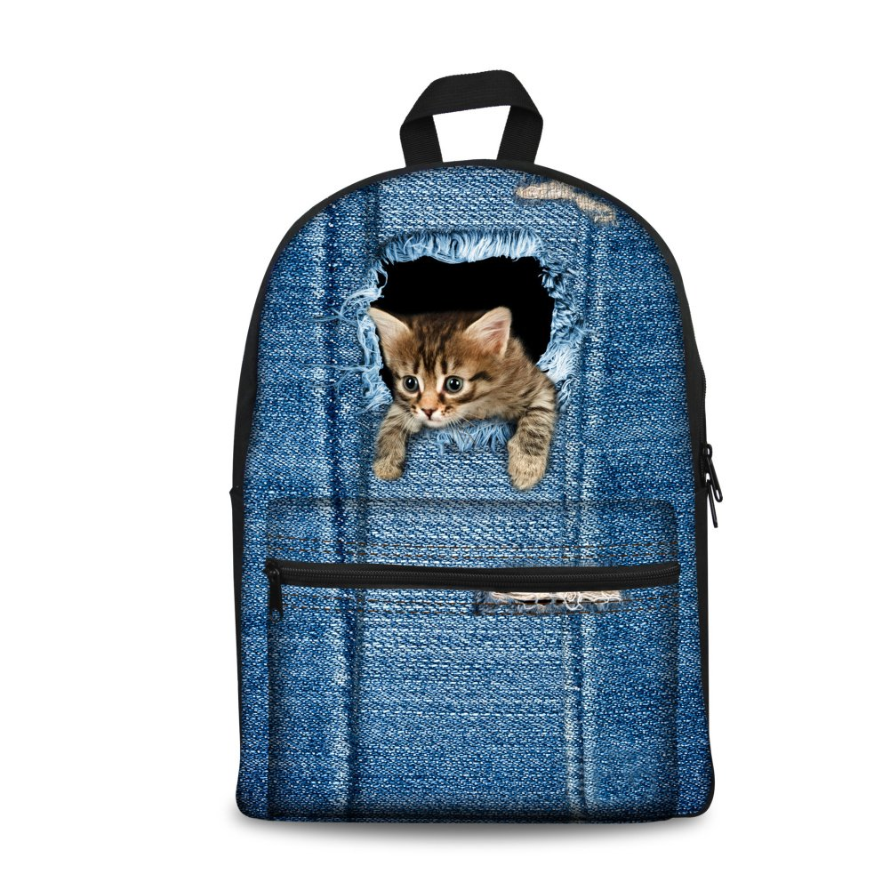 Cat1 coloranimal 3PCS Set of Canvas Jansport Backpack+Insulated Lunch Box+Pencil Case
