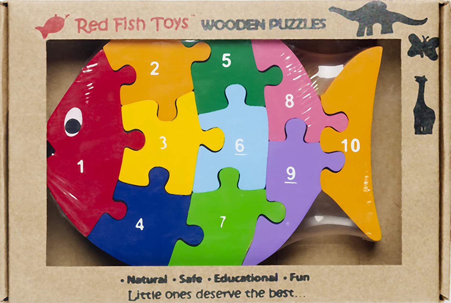 Eco-friendly Wooden Fish Numbers Puzzle Ages 2-4 Red Fish Toys Toddler Puzzle Preschool Toy