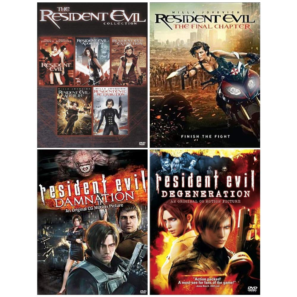 Amazon Com The Ultimate Resident Evil Dvd Collection Complete Movie Series 1 6 Animated Movies Damnation Degeneration Milla Jovovich Movies Tv