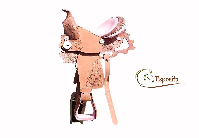 Esposita Westernsattel Princess für Pony und Shetty echtes Leder mit Rosa 10