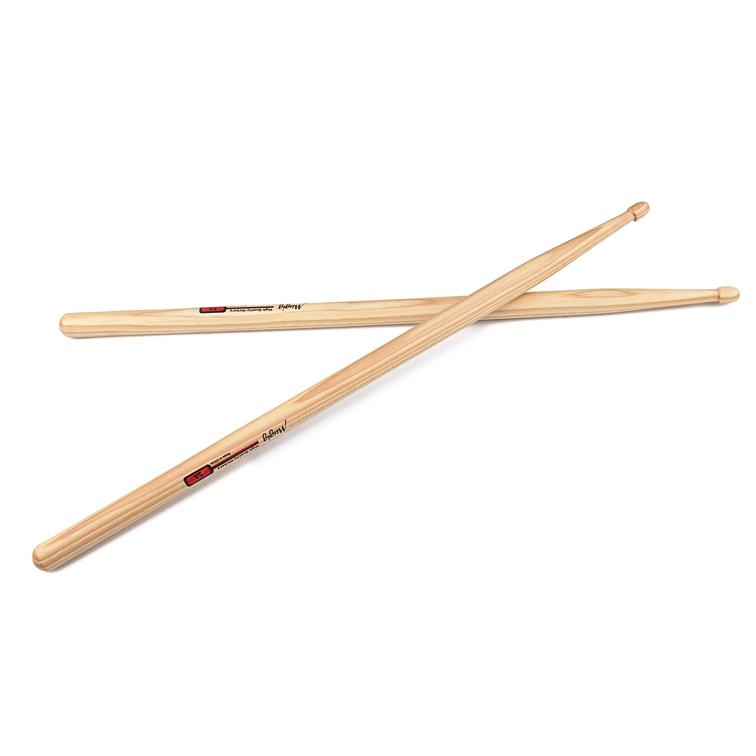 Mugig Drum Sticks Hickory Rock Sticks for Jazz Pop Rock Music (3 Pairs)