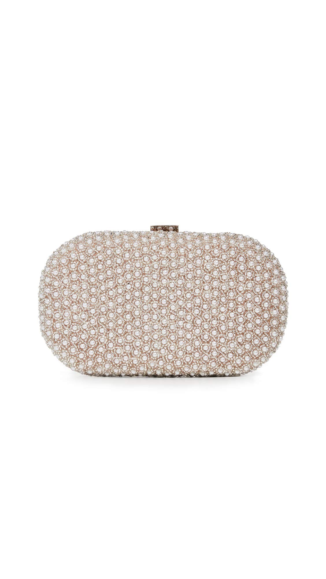 Santi Women's Imitation Pearl Clutch, Taupe/Silver, One Size