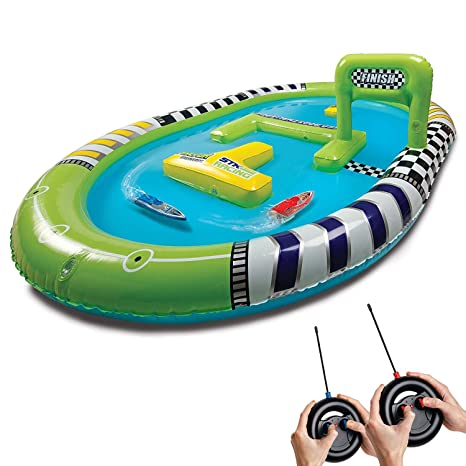 Sharper Image Rc Speedboat Racers For Kids With Inflatable Pool Race Mini Remote Control Boats With Real Water Racetrack For Summer And