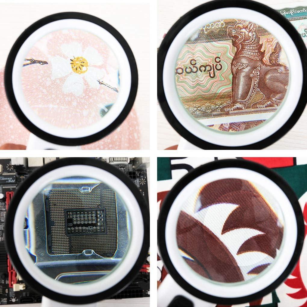 Floridivy Handheld Magnifying Glass Double-Layer Lente con LED Lampada Handheld Lente di Lettura di identificazione Lente di ingrandimento