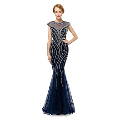 Leyidress Womnes Navy Blue Crystals Mermaid Evening Dresses Sexy Cap Sleeve Tulle Prom Dresses ...