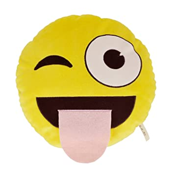 Necknapperz Emoji Guiño N Lengua de Peluche (Amarillo)