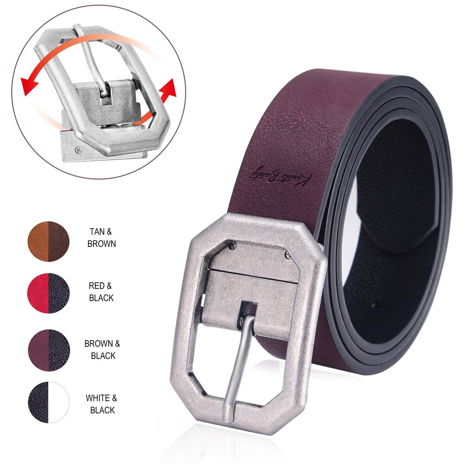 Reversible Leather Belts for Women with 1.25 Wide Solid Brown Western Waist Sash Waistband Men Silver belt Buckle Kamots Beauty