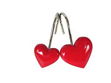 Home Fashion Red Heart Shaped Anti Rust Shower Curtain Hooks Decorative Resin Rings