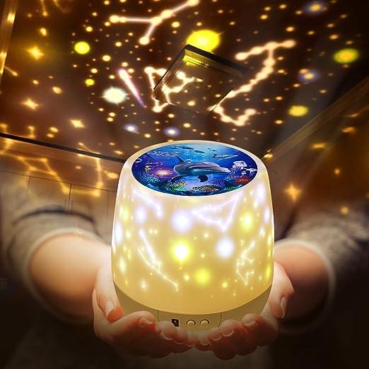 Lámpara Proyector Infantil Estrellas,Lámpara de nocturna ...