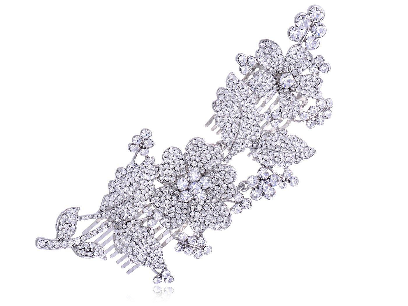 Alilang Silvery Tone Crystal Rhinestone Flower Leaf Bridal Long Hair Comb
