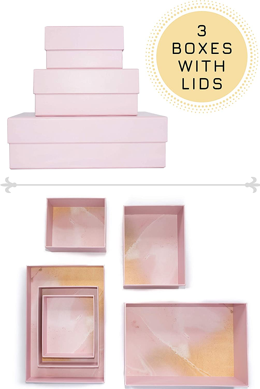 Happibox Hikidashi Box Set of 3   Dresser Drawer Organizer for Clothes   Decorative Storage Box with Lid   Clothing Organizer   Desk Drawer Organizer  Organizing Bin   Memory Box   Cardboard (Pink)