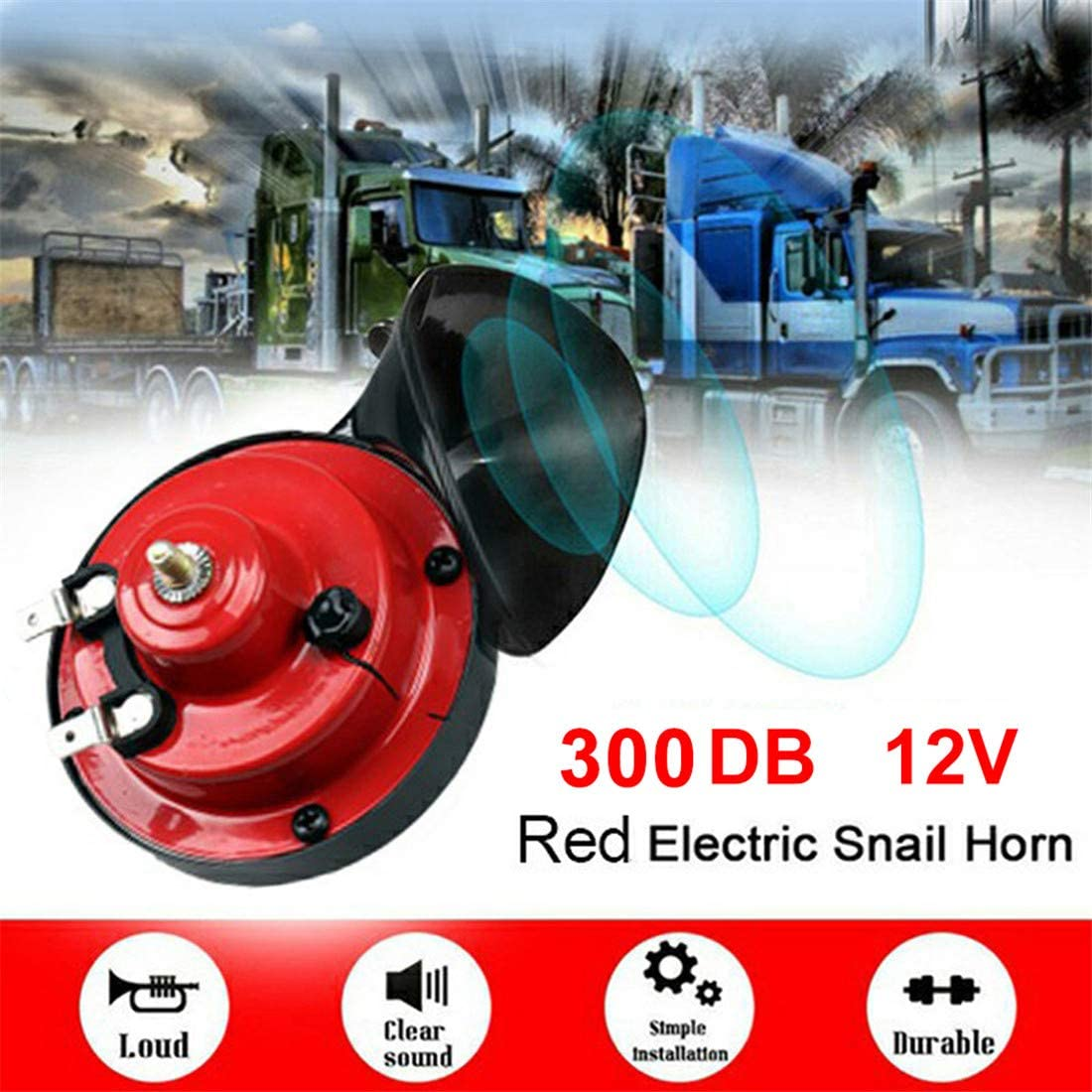 Loud Air Electric Snail Double Horn 12v Double Horn Raging Sound for Car Motorcycle Bikes and Boats,1 Pair 300dB Train Horn for Trucks