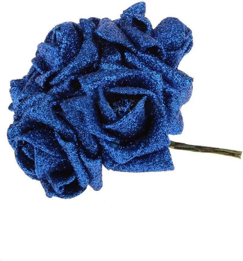 Mini Livecity Lot de 12/t/êtes de fleurs artificielles roses en mousse Poudre de paillettes Bouquet Mariage D/écor Faux Fleur Rose rose