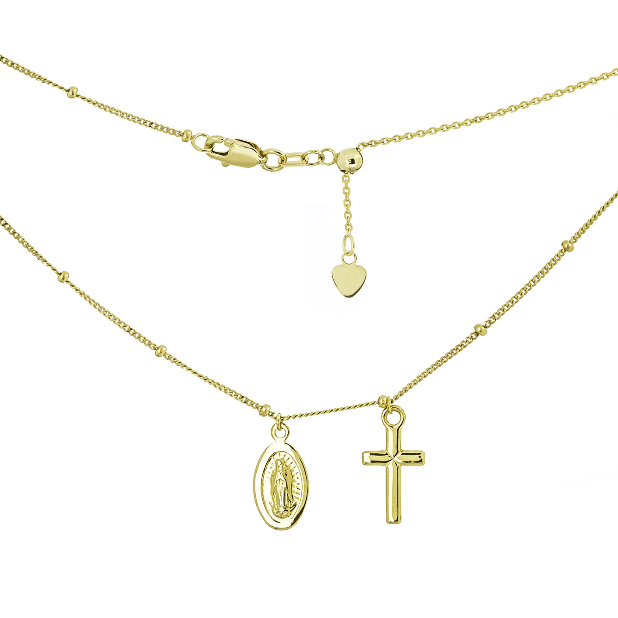 14k Yellow Gold Mini Dangle Cross with Miraculous Mary Medal Adjustable Choker Necklace