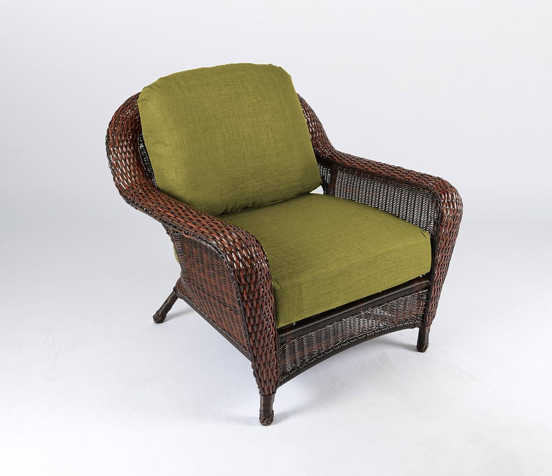 Amazon com tortuga outdoor sea pines club chair finish java wicker rave kiwi patio lounge chairs garden outdoor