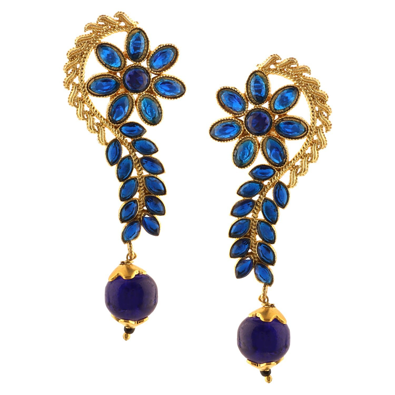 Efulgenz Indian Bollywood 14K Gold Plated Crystal Kundan Pearl Floral Leaf Dangle Drop Earrings Jewelry Set
