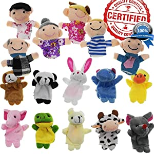 Yabber Finger Puppet Set - [The Original 16 Pack Full Set] 10 Animals + 6 People Family Members [an American Company]
