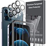 6 Pack LK 3Pcs Screen Protector for iPhone 12 Pro Max 6.7 inch & 3Pcs Camera Lens Protector Anti-Scratch Easy-Installation To