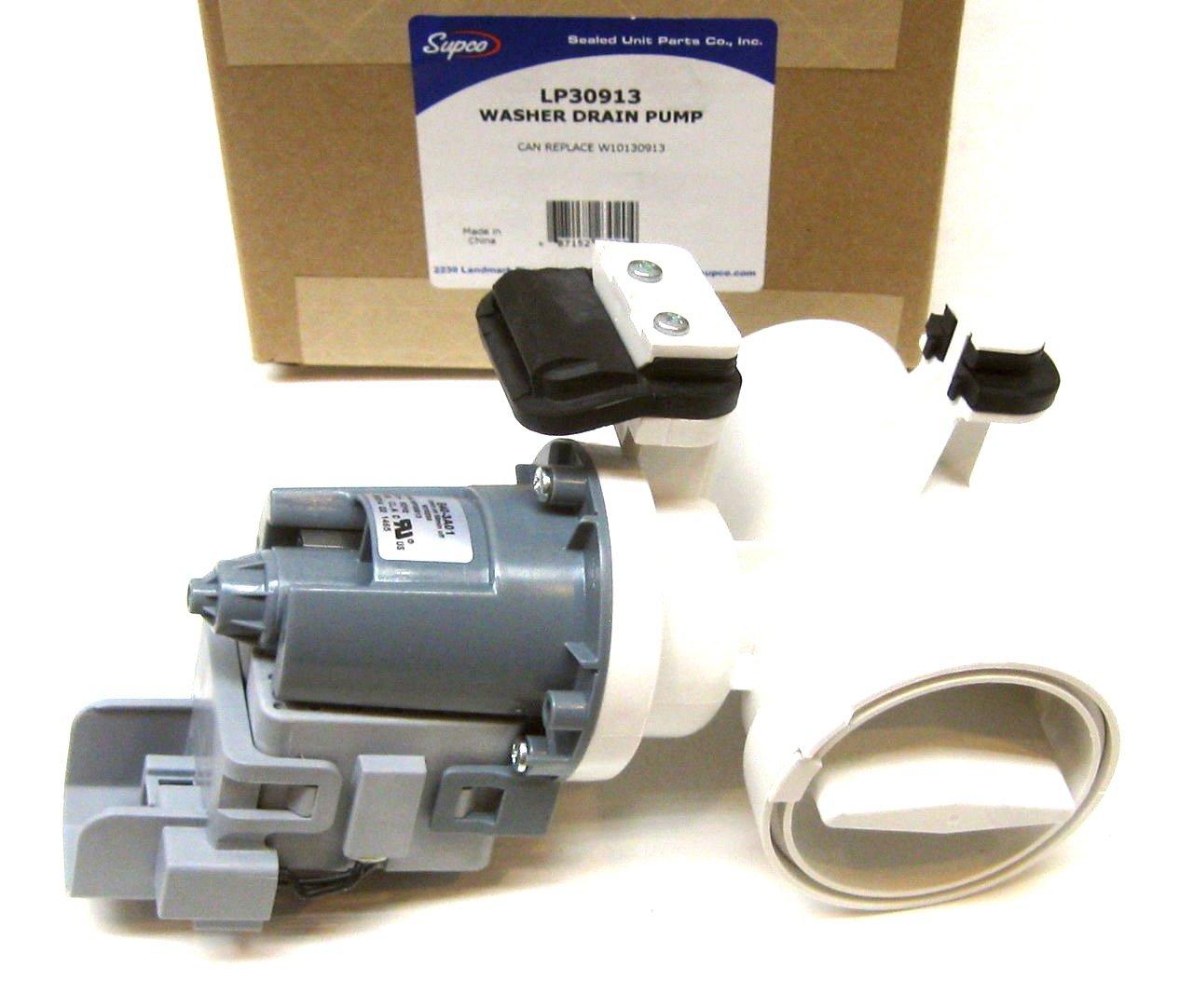 Supco LP30913 Washer Drain Pump Replaces W10130913, W10730972, 8540024, 8540025, 8540027, 8540028, 8540996, W10117829, W10183434, W10190647