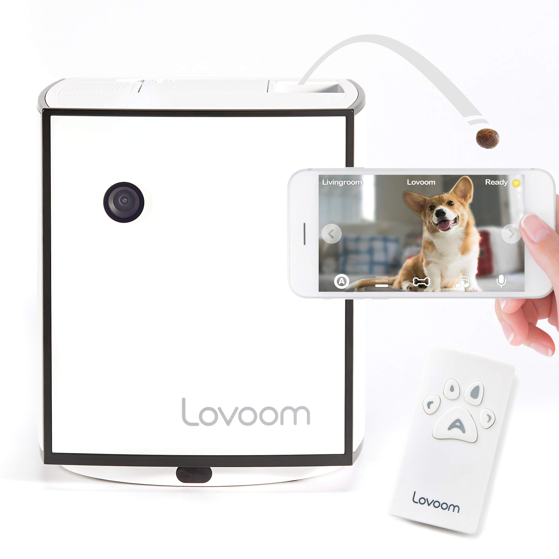 LOVOOM Pet Camera: Kibble Tossing Play, Wi-Fi Kibble Cam with Pan Zoom Two Way Audio Remote Control for Dogs and Cats (Black) by LOVOOM (Image #1)