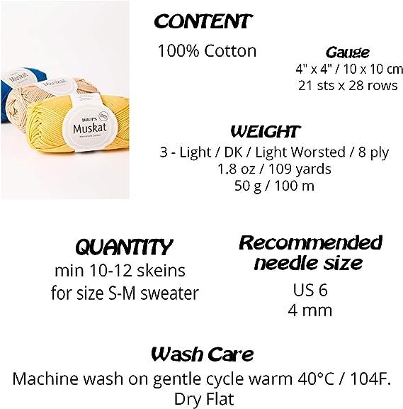 Hilo de algodón 100% para tejer y ganchillo, 3 o ligero, DK, peso ...