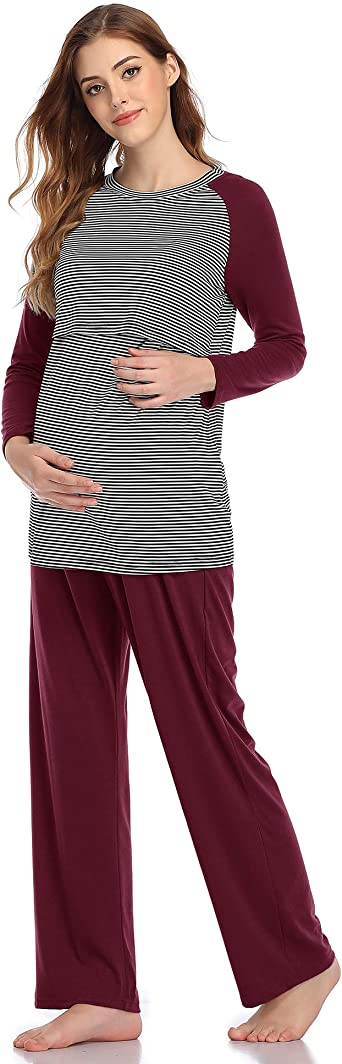 Aranmei Pijama de Lactancia Invierno Manga Larga Pijamas Premamá Embarazadas Algodón Ropa Maternidad a Rayas para Mujer