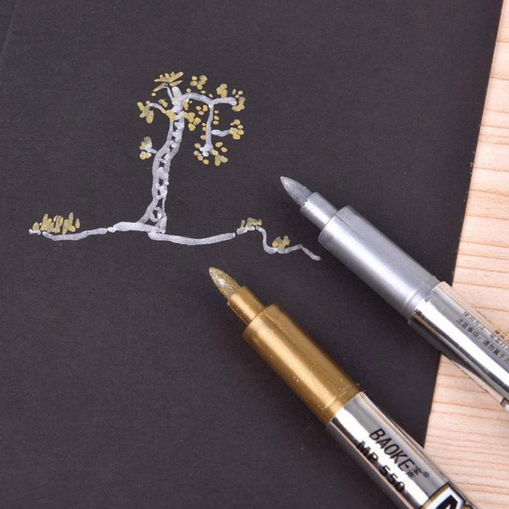 Huphoon 1PC Rotuladores de pintura metálica, punta mediana, oro ...