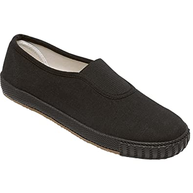 af41a833c9e8 Boys Girls Kids School Pe Pumps Unisex Gym Plimsolls Trainers Velcro Slip  On Gusset Shoes Size (UK 10 Infant