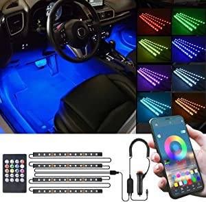 MICTUNING RGB Car LED Strip Light - 4pcs 48 LEDs Multicolor Music Interior Atmosphere Lights - LED Under Dash Lighting with Sound Active Function, APP Controller, Wireless Remote Control, Car Charger