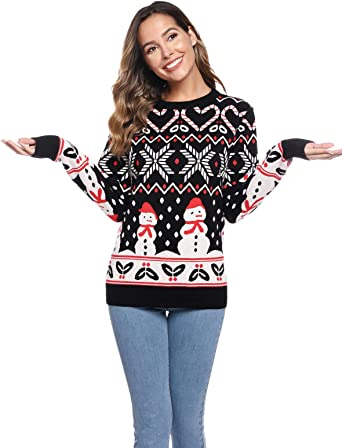 Abollria Women's Christmas Sweater Cute Snowman Knit Sweaters Round Neck Pullover