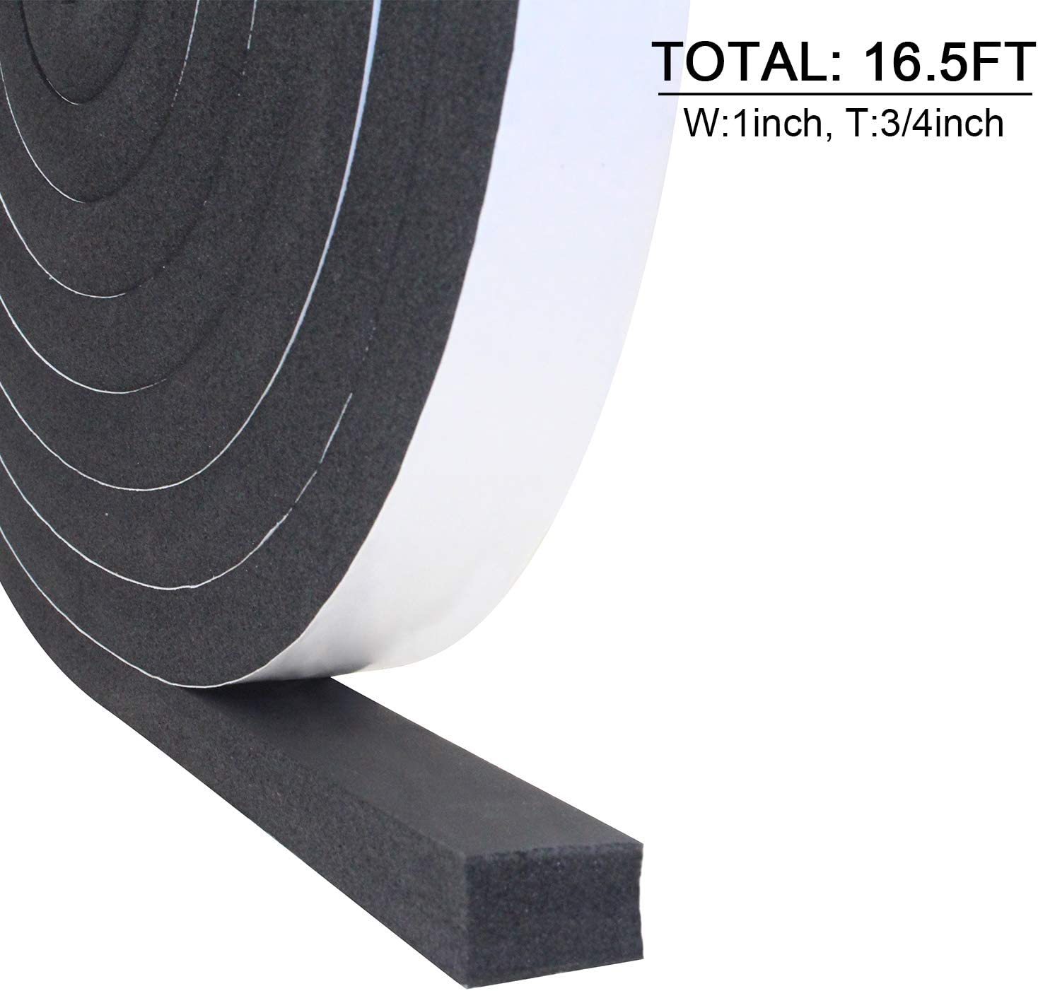1//2In x 3//8In x 16.5Ft Foam Insulation Tape Weather Stripping Door Seal Strip for Doors and Windows,Sliding Door,Sound Proof Soundproofing Door Seal,Weatherstrip,Air Conditioning Seal Strip