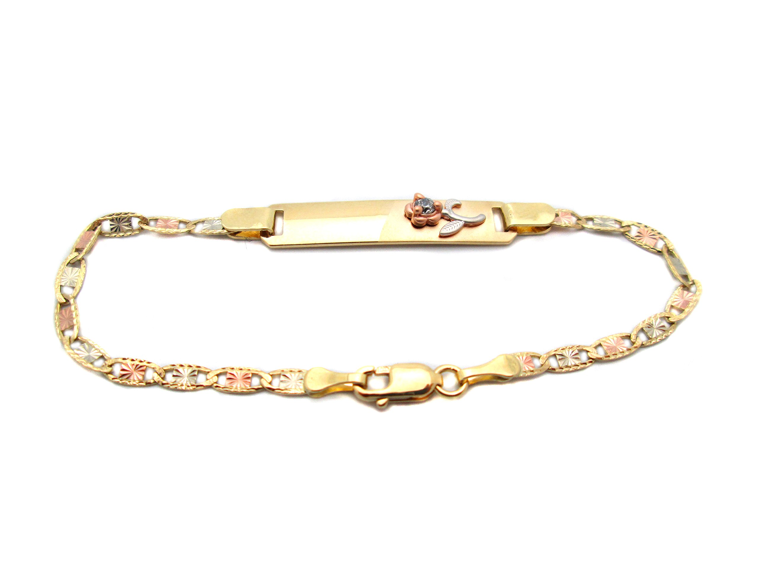 Children Babies 14k Tri Gold Valentino link ID Bracelet With Rose 5.5 inch by AMZ Jewelry