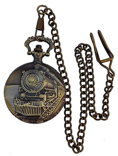 Amazon.com: Reloj de bolsillo de cuarzo estilo tren náutico ...