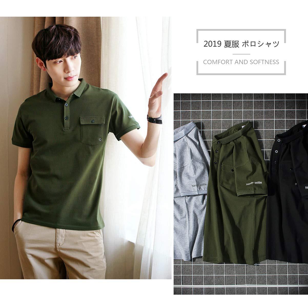 メンズ poloシャツ 夏服 春夏季対応 吸汗速乾 通気性 シンプル 半袖 トップス ゴルフウェア ポロシャツ SHANLIANG