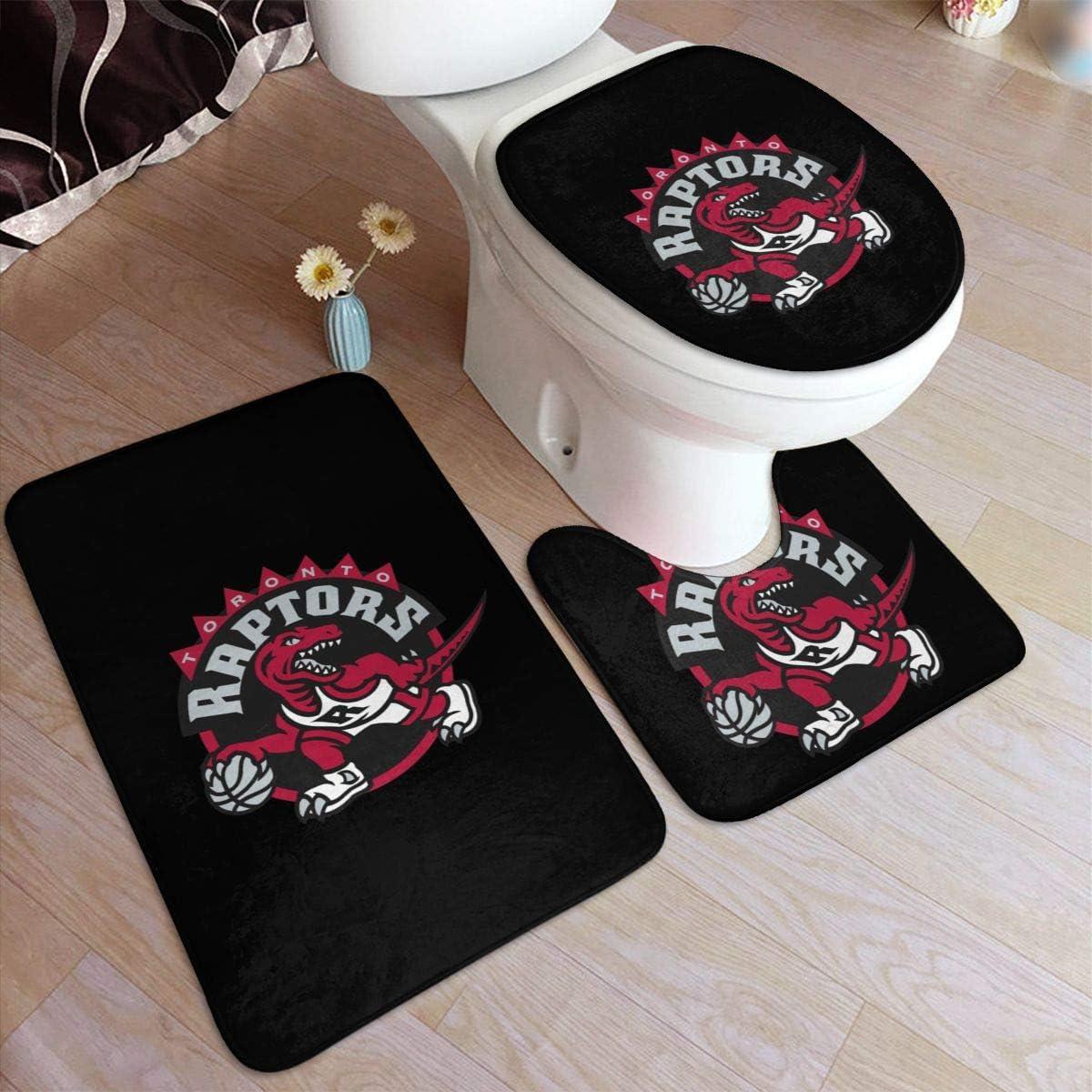 Toronto Logo Raptors Bathroom U-Shaped Contour Mat//Floor Mat//Toilet Cover Bathroom Carpet Cover,3 Piece Non-Slip Soft Absorbs Moisture
