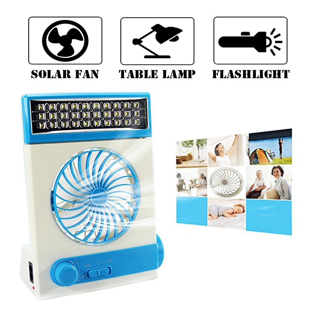 Ansee 3 in 1 Multi-functional Solar Cooling Table Fans with Eye-Care LED Table Lamp Flashlight Solar Panel Adaptor Plug for Home Use Camping (Blue)