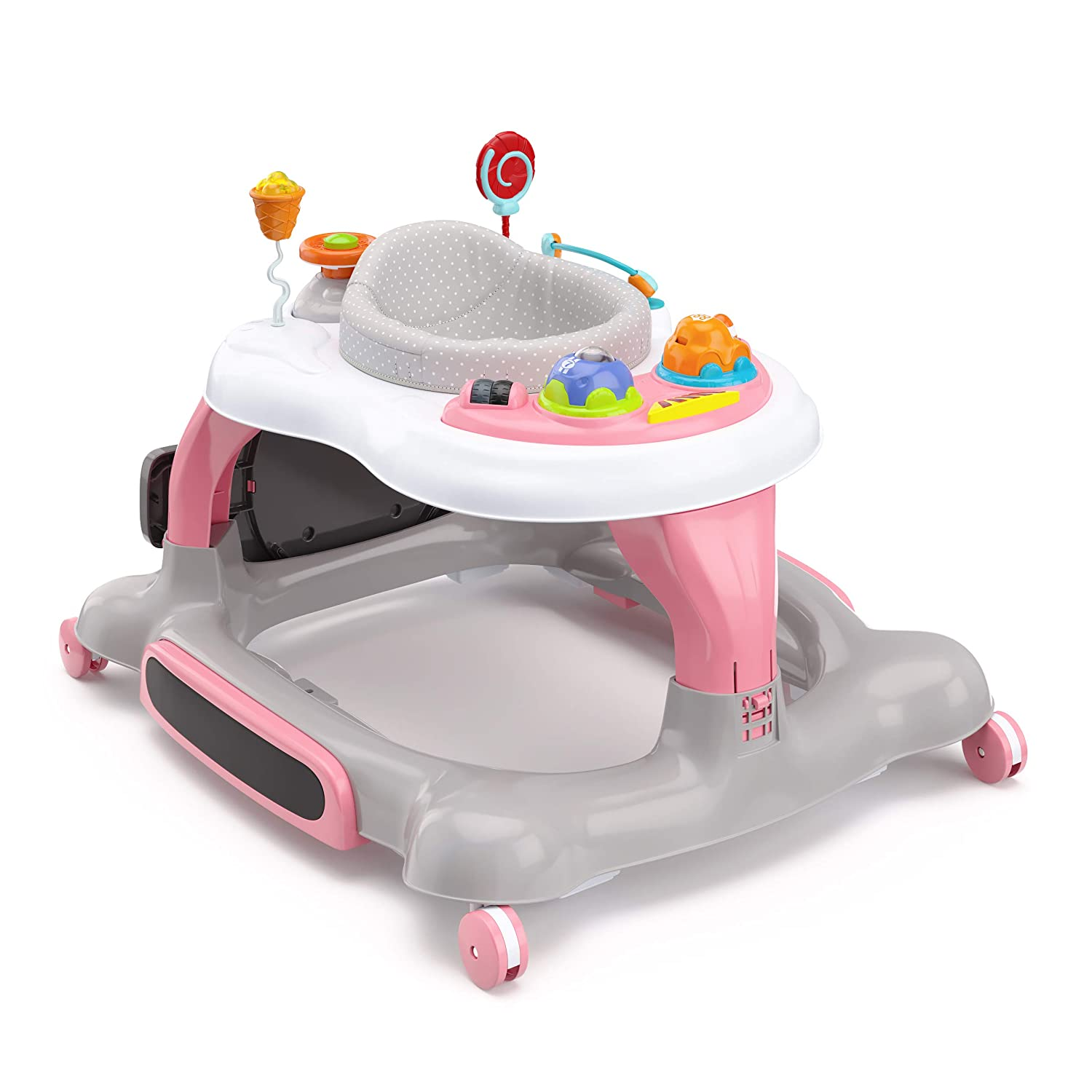 Storkcraft 3-in-1 Activity Walker and Rocker with Jumping Board and Feeding Tray, Interactive Walker with Toy Tray and Jumping Board for Toddlers and Infants- Pink