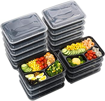 20-Pack Sable 3 Compartment Meal Prep Food Containers (32 oz)