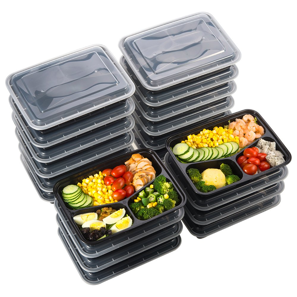 Meal Prep Food Containers 32 oz (20 Pack), Sable 3 Compartment Bento Lunch Boxes, Reusable Organization Cases, BPA Free (FDA, SGS & LFGB Certified, Heat and Cold Resistant, Stackable for Storage)